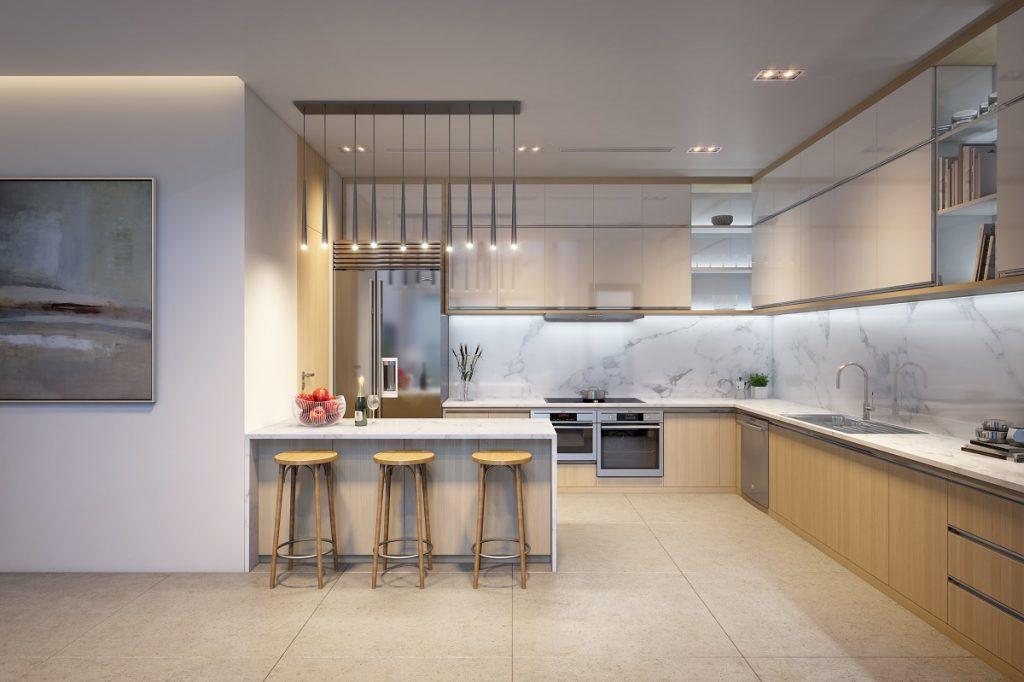 Cận cảnh phòng bếp căn hộ mẫu chưng cư the Zei